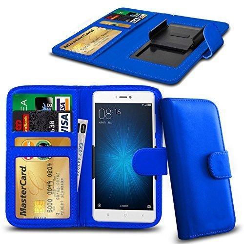 N4U ONLINE - Verschiedene Farben Clip Serie PU- Leder Brieftasche Buch Hülle für Allview V2 Viper X+ - Blau