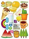 GOUZI Cute Cartoon Kühlschrank Fliese Glas schützt vor Wasser und Öl - Fenster Stil Geschirr, Obst cups, abnehmbaren Wand Aufkleber für Schlafzimmer Wohnzimmer Hintergrund Wand Bad Studie Friseur