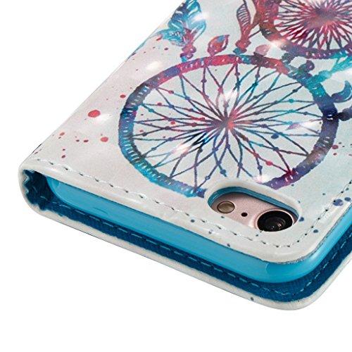 iPhone 7 Hülle,Careynoce Schmetterling Blume Traumfänger 3D Erleichterung Retro Painted Prägemuster Design PU Leder Wallet Case Folio Schutztasche HandyHülle mit Standfunktion Kartenfächer für Apple i M05