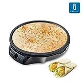 Aigostar Moabit 30CES - Crêpes Maker Eletronische Pfannkuchen Maschine Antihaftbeschichtete Crepes Platte mit Crepes Verteiler, Crepesmaker,30cm, 1000W, Schwarz