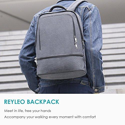 REYLEO Zaino per PC, Laptop Portatile Backpack con Porta USB Casual Impermeabile Unisex per La Scuola e Il Lavoro Fino a 26L (Grigio) - 7