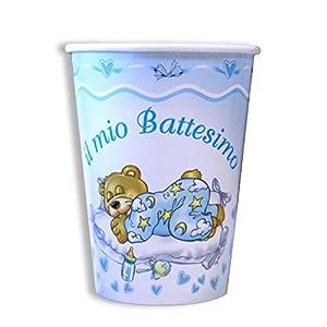 Magic Party be04-Vaso de papel bautizo 200cc, Paquete de 10piezas, azul claro