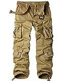 Jessie Kidden Men's Military Wild Combat Loose Cotton Cargo Multi-Pocket Pants with 8 Pockets,Casual Trousers #7533 Khaki 40