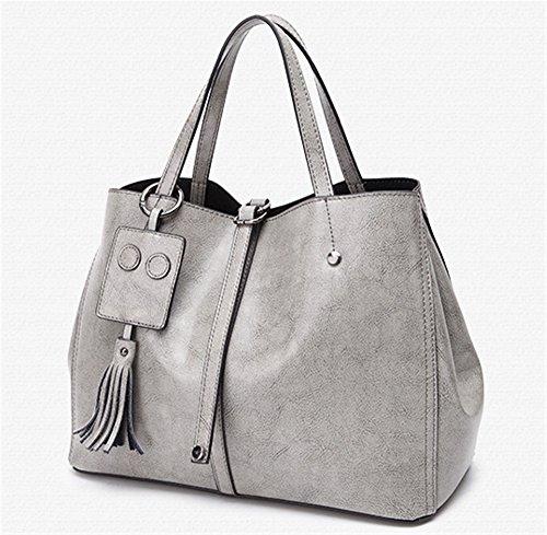 XinMaoYuan borsette in cuoio in autunno e inverno spalla cera olio Borsa in pelle colore solido Sezione trasversale Zip Tote Bag,grigio Grigio