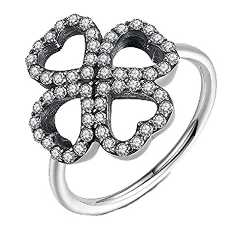 SaySure- Heart Clover Silver Plated Finger Rings (SIZE : 7)