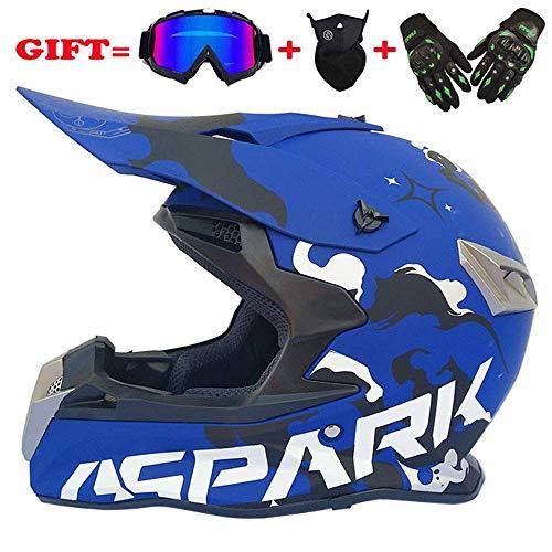 HELMETS-SHOP Erwachsene MX ATV Dirt Bike Motocross D.O.T zertifizierte Goggles Handschuhe Maske Gear Combo Off Road Motocross Helm (4er Set),Blau,M -