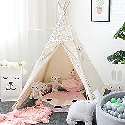 Lebze Tipi Enfant pour Fille - 100% Toile Coton Tente Enfants Intérieur Design de Dentelle