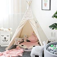 Lebze Tente Teepee pour les enfants - 100% Toile coton naturel Jouer Tente pour enfants - Design de Dentelle