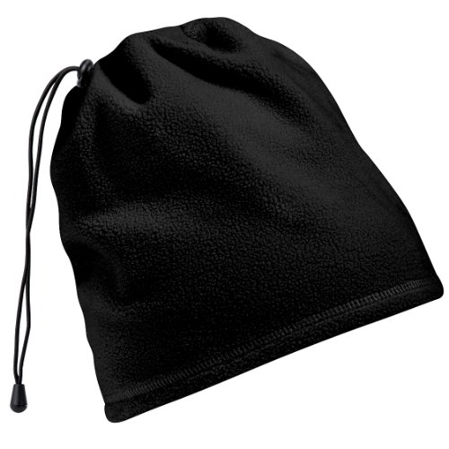 Beechfield - Bonnet snood en polaire antibouloche 2en1 - Adulte unisexe (Taille unique) (Noir)
