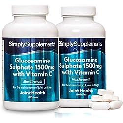 Glucosamina 1500mg con Vitamina C - ¡Bote para 1 año! - 360 Comprimidos - SimplySupplements