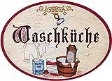 Kaltner Präsente Geschenkidee - Holz Türschild im Antik Design Motiv Wäsche WASCHKÜCHE (Ø 18 cm)