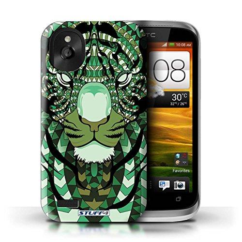 Kobalt® Imprimé Etui / Coque pour HTC Desire X / Loup-Vert conception / Série Motif Animaux Aztec Tigre-Vert