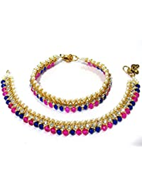 Shree Mauli Creation Pink And Blue AlloyPink And Blue Glass Beads Anklet For Women SMCA101