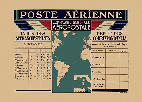 vintage-aviation-travel-frankreich-aeropostale-vintage-international-tarif-diagramm-compagnie-genera