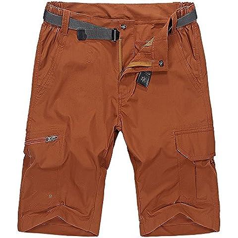 Pantalones cortos de secado rapido quinta pantalones casuales para hombres Ladrillo Caqui CN Talla 3XL(Cintura 88 CM)