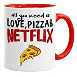 MoonWorks Tasse mit Spruch All You Need is Love, Pizza and Netflix Kaffeetasse Teetasse Keramiktasse Rot Unisize