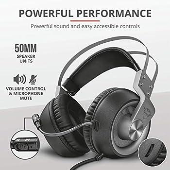 Trust GXT 4374 Ruptor Confortevoli Cuffie Gaming Over-Ear con Unità Altoparlante da 50 mm, PC, PS4, Xbox One, Switch, Grigio