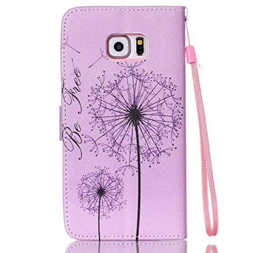 Copertura per Samsung Galaxy S6 Edge Plus in pelle, Samsung Galaxy S6 Edge Plus Custodia Portafoglio, S6 Edge Plus Case Cover, Ukayfe blue Wave-this iphone is locked Design dellunità di elaborazione  porpora-Dandelion