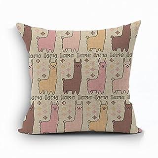 Nunubee Dynamische Tiere Kissenbezug Dekokissen Baumwolle Leinen Sofakissen 45*45cm Kissenbezüge Kissenhülle, Alpaka