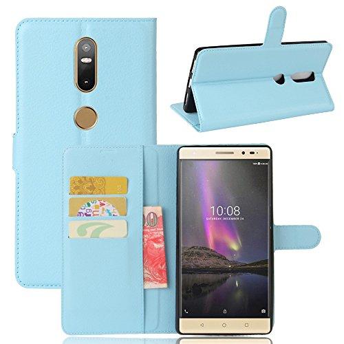Tasche für Lenovo Phab 2 Plus Hülle, Ycloud PU Ledertasche Flip Cover Wallet Case Handyhülle mit Stand Function Credit Card Slots Bookstyle Purse Design blau