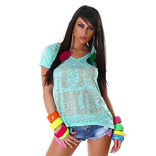 f4y Damen Statement Jersey T-Shirt I'm Yours mit V-Neck - Türkis - Strassbesatz - Grüne Damen Strass T-shirt