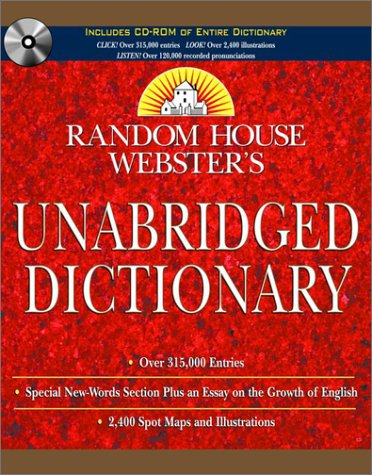 Random House Webster's Unabridged Dictionary Book and CD SET