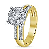 Vorra Fashion 14K Gold Plated 925 Sterling Silver Nice Round Cut White CZ Solitaire With Accents Ring For Women's / Girl's