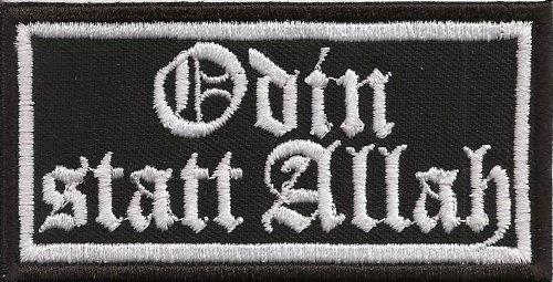 ODIN statt ALLAH, Thors Hammer Krieger Biker Rocker Heavy Metal Aufnäher Patch