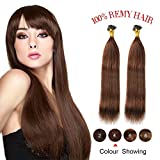 "#4 Medium Brown Natural Silky Straight Remy I Tip Stick Human Hair Extensions 16"" 0.4g/strand 40g/Pack"
