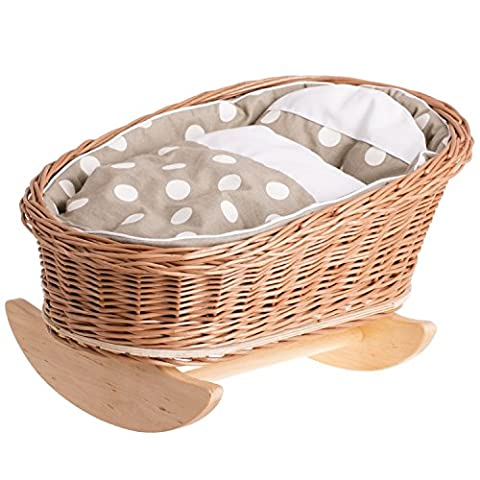 Natural Wicker Doll Bed, Wooden Rocking Cradle Crib