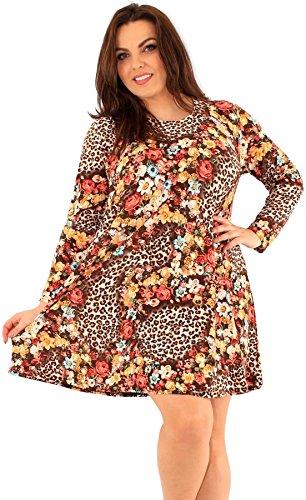 Chocolate Pickle ® Nouveaux Femmes Grande Taille animal imprimé floral manches longues Robe trapèze Animal-Flower