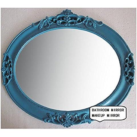 Europeo-stile pastorale ovale Mediterraneo Camera Dresser parete Specchio Bagno Hanging specchio del bagno in resina (Camera Ovale Dresser)