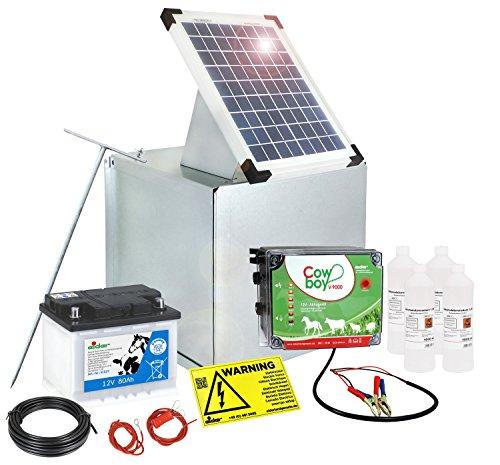 *Weidezaungerät / Elektrozaungerät Solar Komplettset – Extra starkes EIDER V9000 – 3,8 Joule – Komplettset sofort Startbereit inkl. großen Akku – nie mehr Batterie laden – 10 Watt Solarpanel*