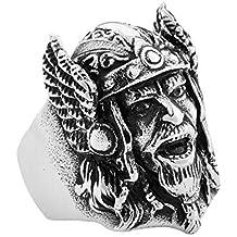 PAMTIER Hombre Ancient Ejército Casco Cabeza Biker Anillo Acero Inoxidable Piratas Nórdicos Vikingos Banda