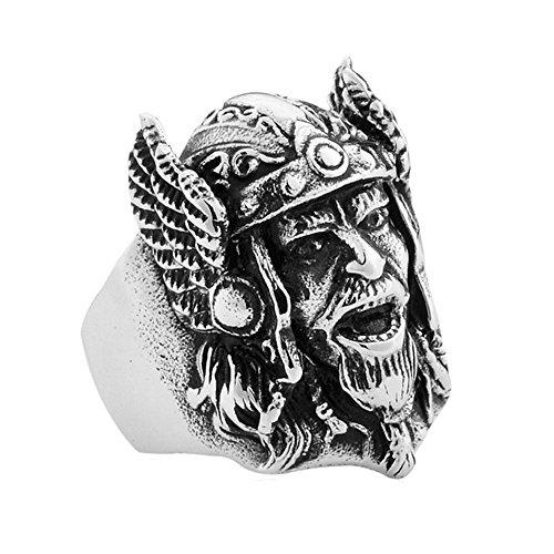 PAMTIER Herren Alte Armee Helm Kopf Biker Ring Edelstahl Nordic Pirates Vikings Band Größe 66 (21.0)