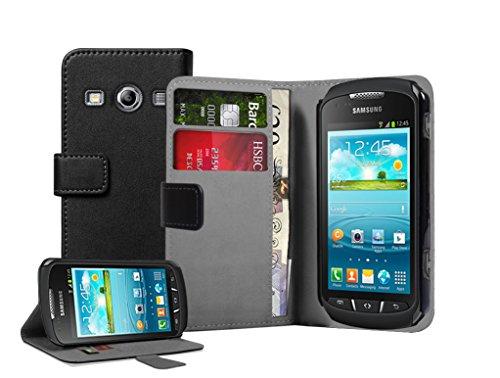 Membrane - Schwarz Brieftasche Tasche Hülle Samsung Galaxy Xcover 2 II (GT-S7710 / S7710L) - Flip Case Cover + 2 Displayschutzfolie