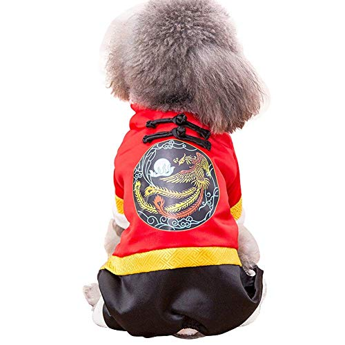 Pet Clothes, Dog Cat Clothing Winter Cotton Coat Tang Suit Small Medium Dog New Year Clothing, Red (Color : Phoenix, Size : ()