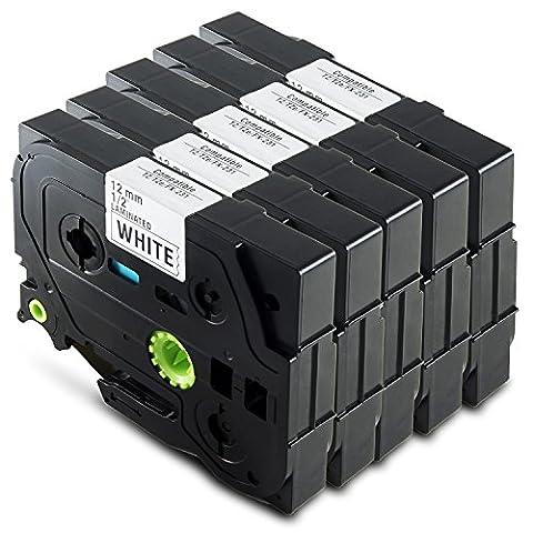Madabcom, 5 Tape cassette 12mm 8m compatible for TZe-231 TZ-231 TZE 231 TZ231 Laminated Labelling adhesive label Black on white Brother P-Touch PT-1000 GL-H105 GL-200 PT-1080 PTE-550WVP PT-P700 PT-H300 1000W 1010 1090 1830VP 2030VP 2100VP 2430PC 2470 2730VP 7100 7600VP H100R D200VP