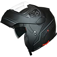 Leopard DVS Double Visor Modular Flip up front Motorcycle Motorbike Scooter Helmet Matt Black/Silver M (57-58cm)