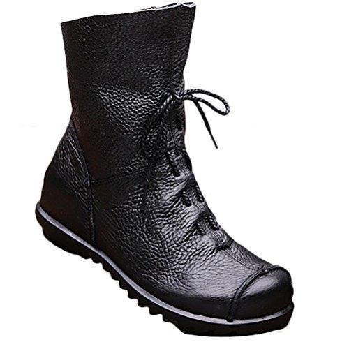 Vogstyle Damen Handgefertigte Schnürsenkel Lederstiefel Flach Leder Stiefeletten mit Reißverschluss Art 1 Schwarz EU37/CH38 (Grün Wohnungen Leder)
