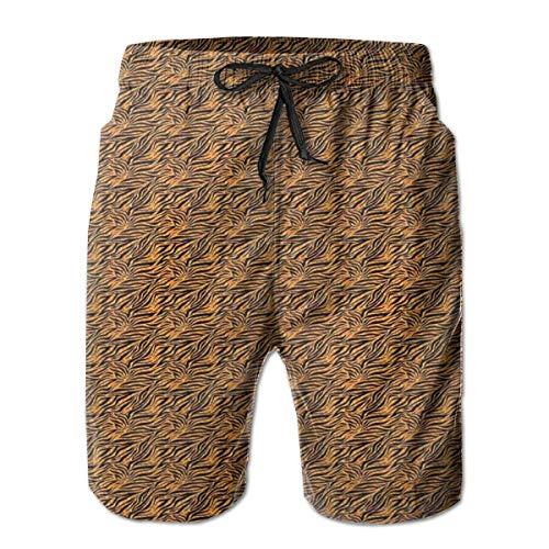 Herren Badehose Beach Shorts, Tigerfell mit Streifen und warm getönten Backgroundotifs aus afrikanischer Kultur - Kultur-streifen
