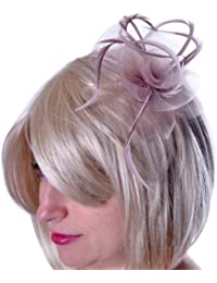 Ladies Twisted Rose Feather Fascinator Mesh Bow Headband Hair Piece Wedding Hair