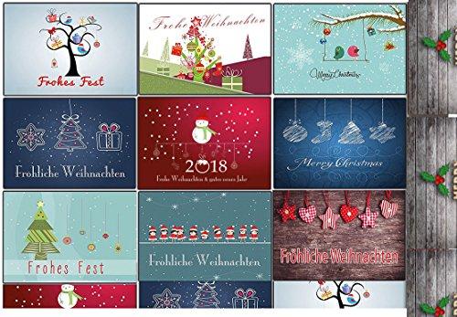 Grußkarten Weihnachten Weihnachtspostkartenset lustig rustkal (10 Stück) Weihnachts-Postkarten witzig Comic Collection DIN A-6 gemischt & günstig Rentier Weihnachtsmann Vintage Retro (Individuelle Foto-weihnachtskarten)
