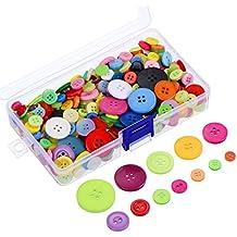 300 Piezas Botones de Resina de Colores Surtidos 2 y 4 Botones Redondos de Agujero de Artesanía con Caja de Almacenamiento de Plástico para Manualidades DIY de Coser