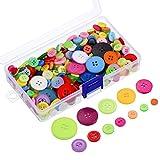 300 Stück Verschiedene Farben Resin Knöpfe 2 und 4 Löcher Runde Handwerk Knöpfe mit Kunststoff Aufbewahrungsbox für Nähen DIY Handwerk