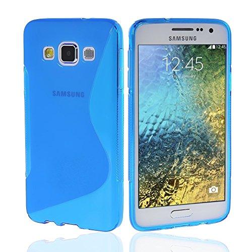 NAUC Schutzhülle für Samsung Galaxy E5 Tasche TPU Case Cover Schutz Hülle Handy Kappe, Farben:Blau