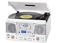 Trevi TT1065 Classic Retro Vinyl Turntable, CD Player with MP3 Encoding Function FM Radio Tuner and Remote Control - White