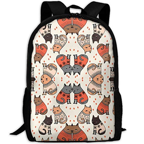 HOJJP Schultasche Cats In Sweaters Holiday Christmas Waterproof School Bag Durable Travel Camping Backpack for Boys and Girls