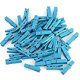 westeng 50Holz Foto Clips Peg Wäscheklammern Mini Kleidung Clip DIY Craft Memo Papier Clamp Clips Mehrfarbiges 3.5*0.8cm blau