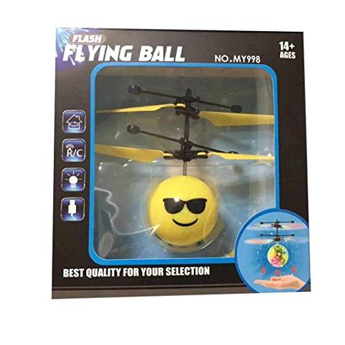 RC Fliegender Ball, Gusspower Infrarot Induktion Hand Mini Fliegen Emoji Drone Flugzeug Hubschrauber, Elektrische Micro Flugzeuge Geschenk für Kinder Spielzeug (A)